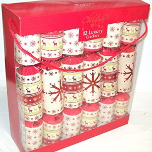 12-Luxury-Family-Christmas-Crackers-Foiled-Nordic-Snowflake-Reindeer-Red-Beige-0