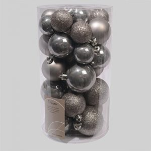 30-Luxury-Shatterproof-Christmas-Baubles-Decoration-Wool-Silver-Grey-0