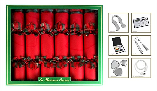 6-Hand-Made-Christmas-Crackers-Red-Tartan-Ultimate-in-Luxury-Christmas-Crackers-0