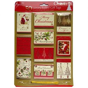 Luxury-Foiled-Christmas-Gift-Tags-Pack-of-50-10-Assorted-Designs-with-Metallic-Gold-Thread-0