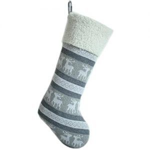 SORRENTO-Knitted-Reindeer-Body-with-Ivory-Sherpa-Cuff-Christmas-Stocking-10x19-Silver-Grey-0