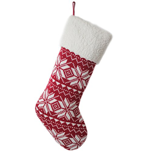 SUOLANDUO-Fine-Knitted-Snowflake-Burgundy-Christmas-Stocking-10x19-0